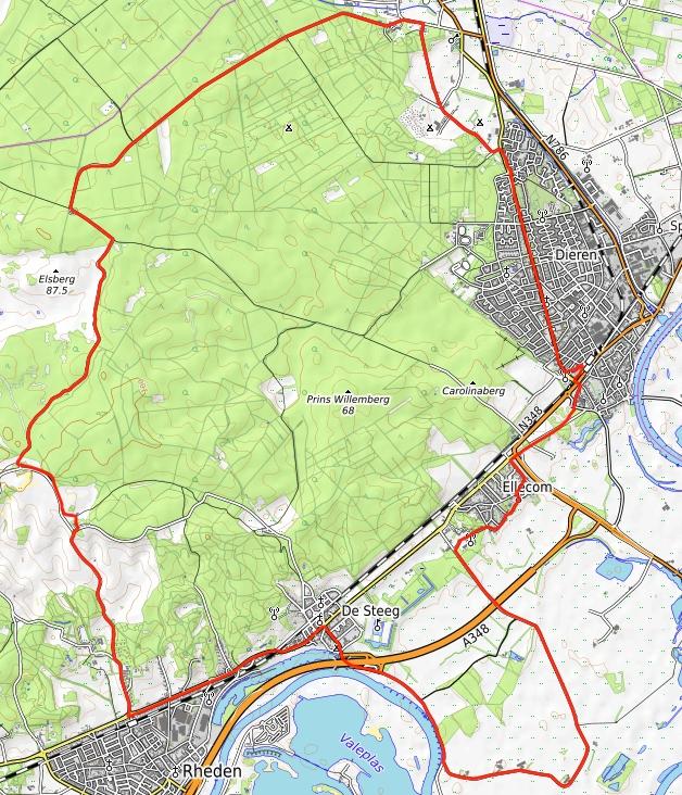 Dieren - Posbank - Dieren, 28 km.