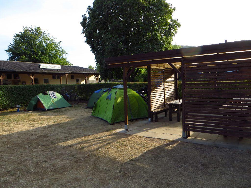 Gearriveerd op de camping aan de Weser bij Höxter.