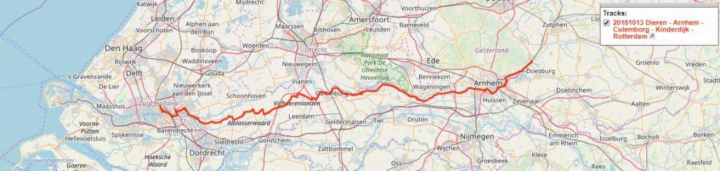 Dieren - Arnhem - Culemborg - Kinderdijk - Rotterdam, 155 km.