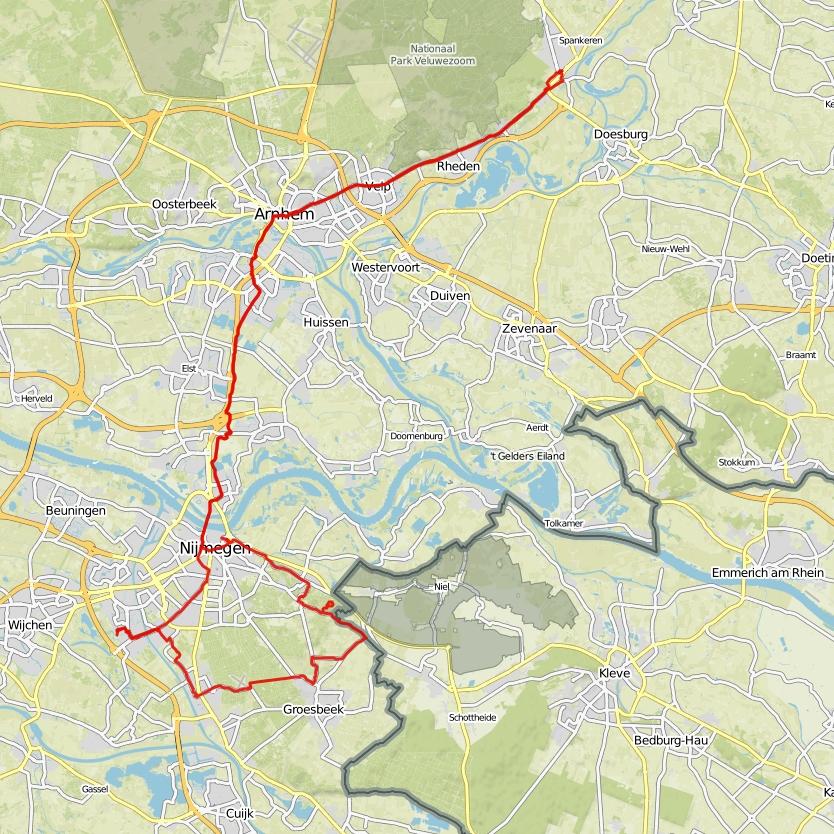 Dieren - Nijmegen - Groesbeek - Nijmegen - Dieren, 107 km.