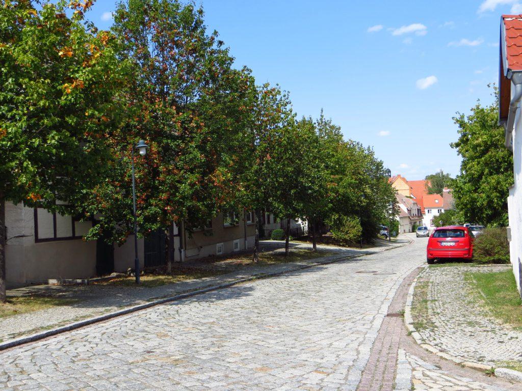Dit kom je typisch tegen in de voormalige DDR als je een plaats inrijd: kasseien. Stapelgek wordt je ervan. Gewoon op het voetpad gaan fietsen dat gaat een stuk beter.