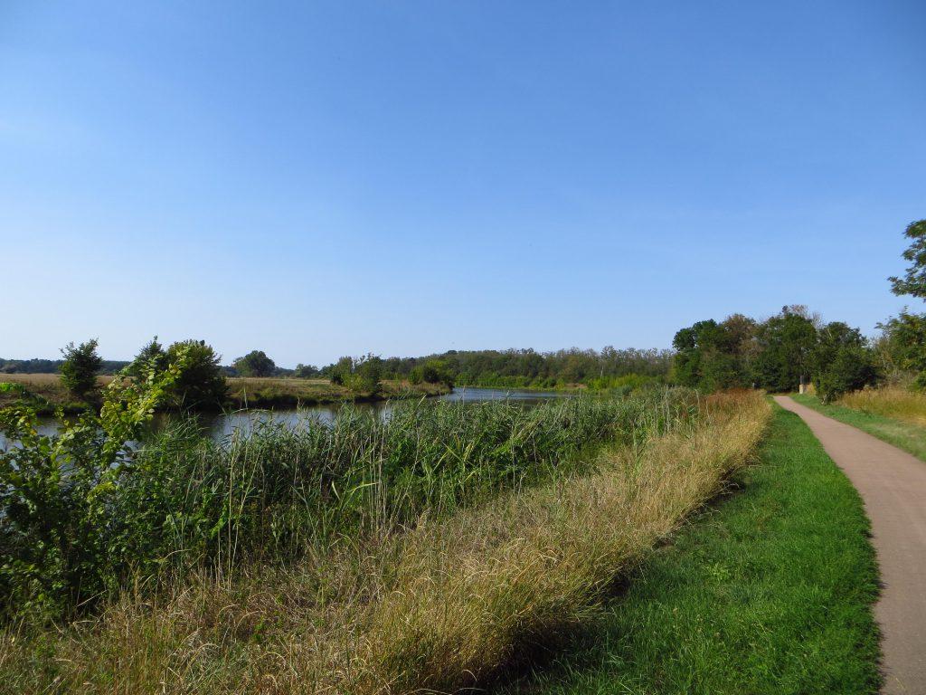 Het laatste stuk naar Bernburg fiets ik langs de rivier de Saale, een zijrivier van de Elbe. Het fietspad was nu echt van goede NL kwaliteit.