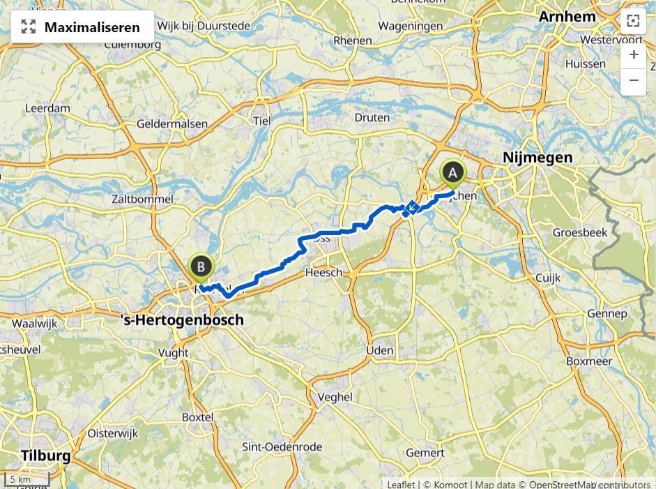 Wijchen - Oss - 's Hertogenbosch, 40 km.