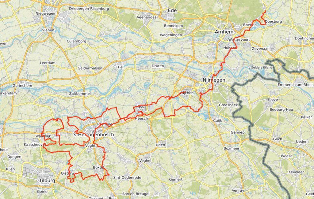 GPS track van de totale fietstocht.